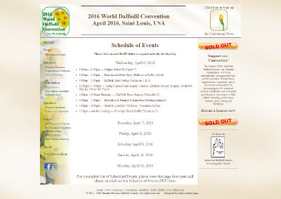 2016 World Daffodil Convention Schedule Page