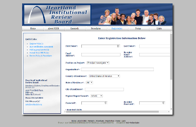 Heartland Institutional Review Board Register page