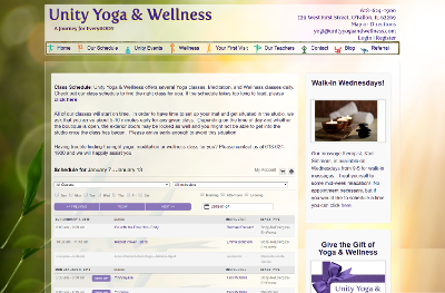 Unity Yoga & Wellness Class Schedule Page